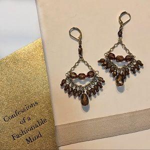 Gold Brown Dressy Bead Dangle Chandelier Earrings
